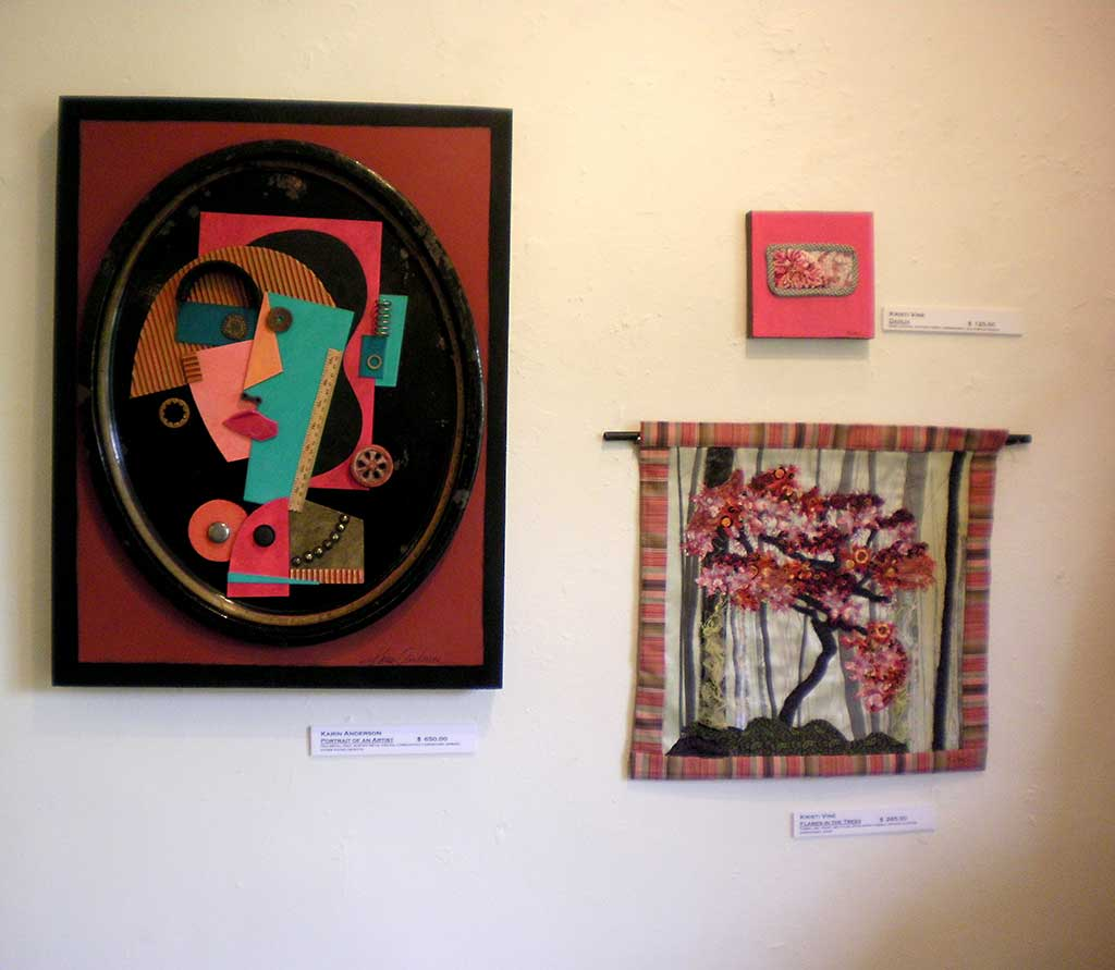 """Portrait of an Artist"" Karen Anderson, ""Dahlia"" and ""Flames in the Trees"" Kristi Vine"