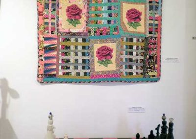 """Big Rose Scrap Bag"" Terrie Mangat + ""Cigar and Whiskey Chess Game"" Debra Villalobos"